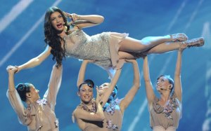 Cyprus' Ivi Adamou performs during the First Semi-Final of the Eurovision 2012 song contest in the Azerbaijan's capital Baku, late on May 22, 2012. AFP PHOTO / VYACHESLAV OSELEDKO